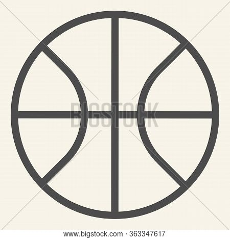 Basketball Line Icon. Basketball Ball Outline Style Pictogram On Beige Background. Sport And Recreat