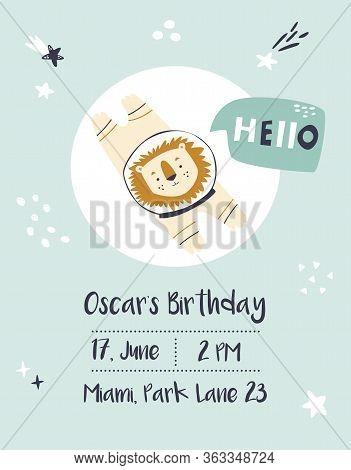 Baby Shower, Birthday Invitation Card With Lion Cosmonaut
