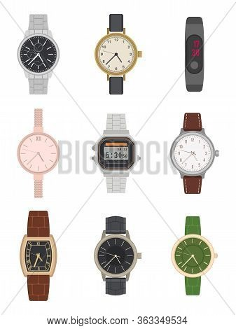 Flat Wrist Watch. Various Mens And Womens Classic And Modern Watches With Different Classy Design Fa