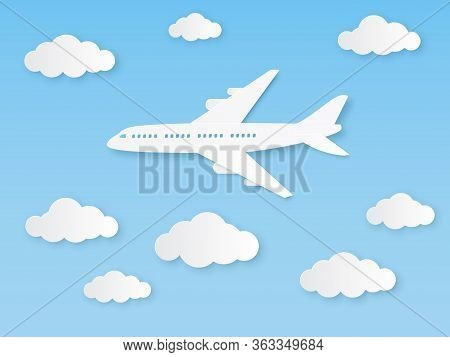 Aircraft In Blue Sky. Flight Airplane And White Clouds In Origami Style, Aviation Tourism. World Tra