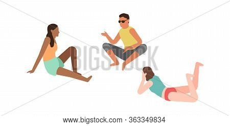Cartoon Persons And Picnic. People Talking Relaxing Together Outdoor Summertimes, Isolated Vector Fl