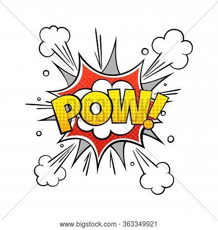 Comic Pow Word. Vintage Vector Comics Conflict Text With Exploding Cloud Pattern For Art Book