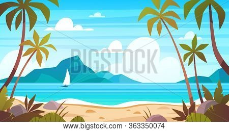 Sea Landscape. Tropical Beach, Ocean Seashore. Paradise Island Panorama With Palm Tree And Sky, Exot
