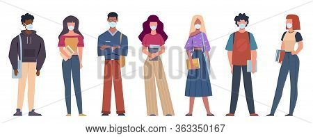 People With Medical Masks. Multiethnic Young People Wearing Medical Masks To Prevent Disease, Flu Or