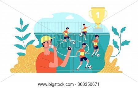 Kids Football. Soccer Play Learning. Summer Sport Camp, Kids Team Playing On Field. Children Trainin