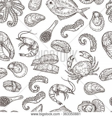 Seafood Pattern. Hand Drawn Ink Sea Life. Sketch Japanese Food, Engraving Vintage Ocean Ingredients.