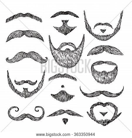Sketch Mustache. Drawing Facial Hair. Isolated Patch Mustaches, Retro Mouth Beard. Abstract Male Hip