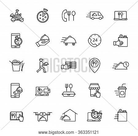 Food Delivery Outline Vector Icons Isolated On White Background. Food Delivery Line Icon Set For Web
