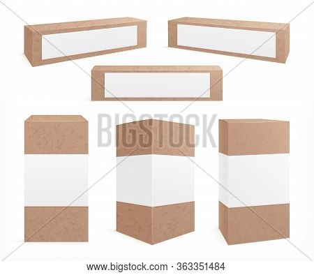 Craft Carton Boxes. Standing Brown Pack. Cookie Box, Paper Packaging Design. Realistic Isolated Card
