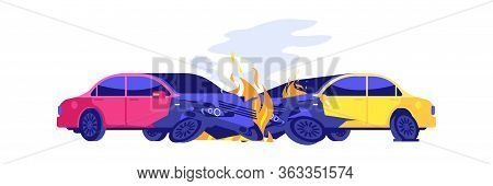 Car Crash. Automobiles In Fire. Isolated Damaged Transport, Broken Autos. Cartoon Road Accident Vect