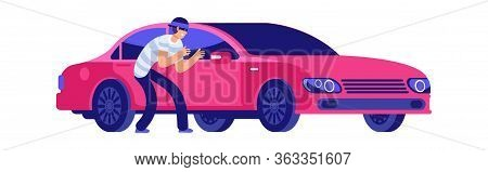 Car Theft. Thief Is Getting Close To Car. Car Insurance, Insured Event. Bad Security Automobile Vect