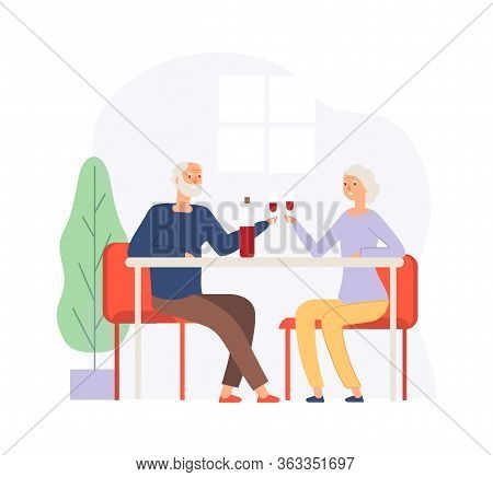 Couple On Meeting. Elderly People On Restaurant Drinking Wine. Happy Husband And Wife, Old Man Woman