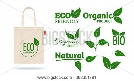 Eco Friendly Shopping Bag. Realistic Textile Pack Mockup For Organic Shop. Natural Products Labels L