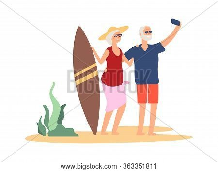 Elderly Summer Vacation. Grandparent Selfie On Beach. Happy Old Couple With Surf Board Near Sea. Wom