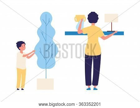 Housework Together. Family Cleaning, Mother And Son Remove Dust And Care For Plants Vector Illustrat