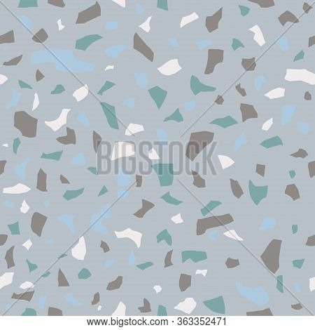 Terrazzo Seamless Pattern. Surface Texture Of Decorative Granite Tiles. Pastel Blue And Brown Colors
