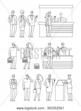 People Queues. Man Woman Waiting Lines. Isolated Line Characters On Cash Boxes. Person In Grocery, S