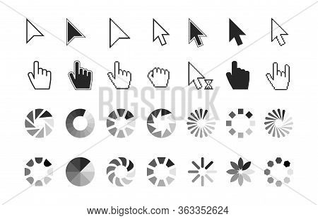Pointer Icons. Hand Cursor Click, Wait Loading Sign. Computer And Website Interface Elements. Line A