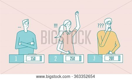 Quiz Show. Young Clever People, Students Gambling Game. Girl Answer, Tv Show Winner. Line Flat Think