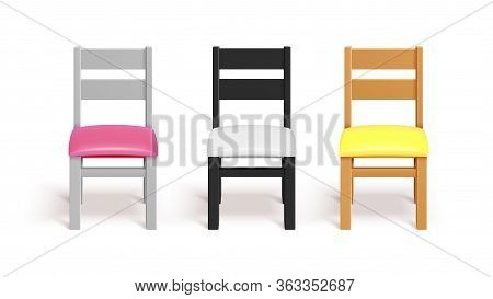 Realistic Chairs. White, Black And Wooden Chair With Pillow. Interior Design Equipment Vector Mockup