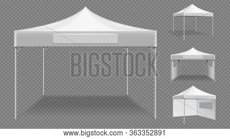 Realistic White Tents. Empty Folding Marquee, Market Street Stall Vector Template. Realistic Trade F