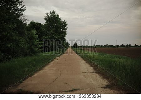 Old Cracked Asphalt Road. A Long Straight Road Among Fields And Trees.