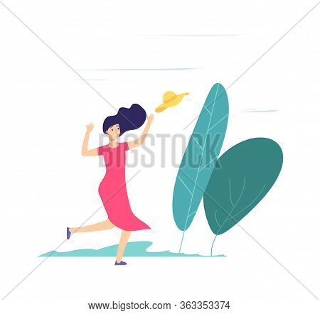 Wind Day. Girl Walking, Catching Up Fly Away Hat. Lady With Hat On Windy Weather Vector Illustration