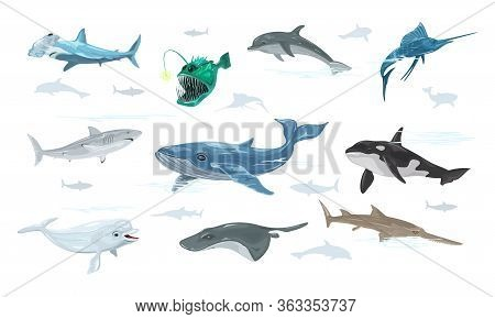 Vector Set Isolated On White Of Undersea World With Swimming Marine Animals, Creatures, Monsters, Fi