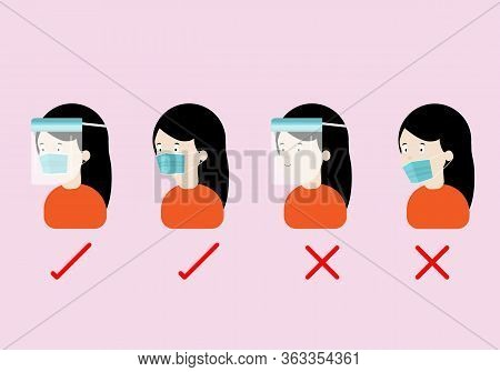 Concepts Of How To Wear Protective Mask And Face Shield Correctly. Illustration Of Woman Wearing Pro