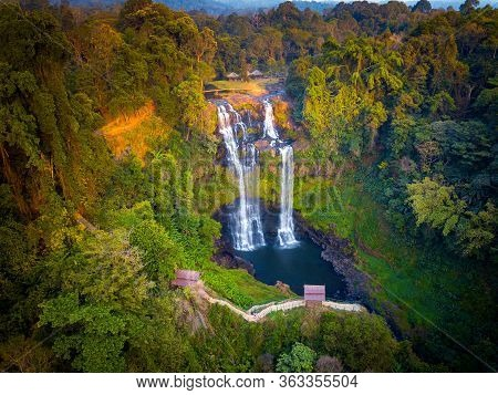 Top View Aerial Photo From Flying Drone Over Tad Gneuang Waterfall At Paksong  Champasak  Laos,asia.
