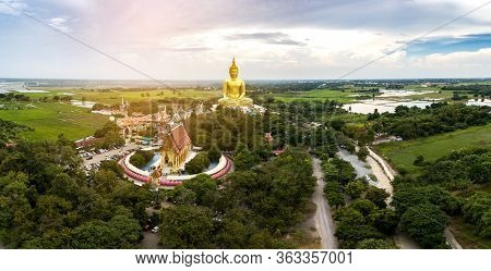 Panorama Top View Aerial Photo From Flying Drone.aerial Photo Golden Buddha , Wat Muang , Ang Thong
