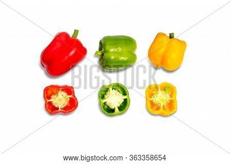 Half Of Fresh Sweet Pepper(bell Pepper).sliced Red Green Yellow Sweet Pepper Isolated On White Backg