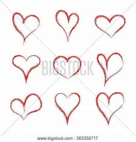 Heart Hearth. Collection Of Handmade Hearts. Love Pattern. Heart Drawn Of Brush. Handdrawn Red Logo