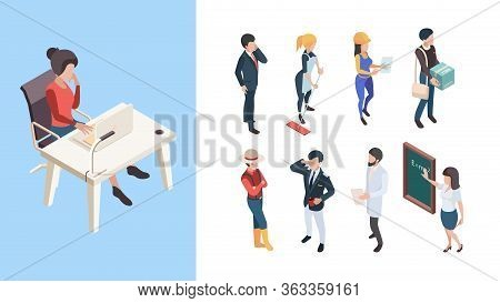 Isometric Professions. 3d People Service Workers Business Persons Male Female Vector Illustration. B