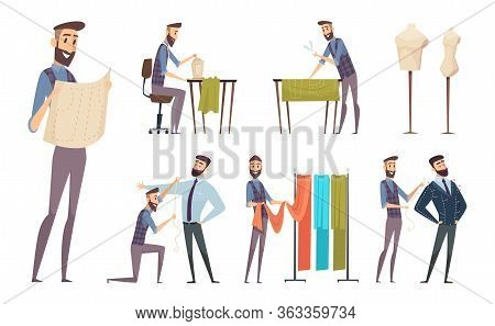 Tailor Working. Sewing Atelier Master Dressmaker Characters Vector Cartoon People. Illustration Work