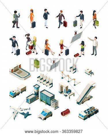 Airport Terminal. People Pilots Flight Attendants Travellers Airport Interior Luggage Boarding Ticke