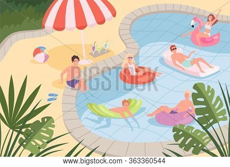 Swimming Pool. Happy Characters Family Couples Relax On The Beach Or Pool Outdoor Vacation Kids Play
