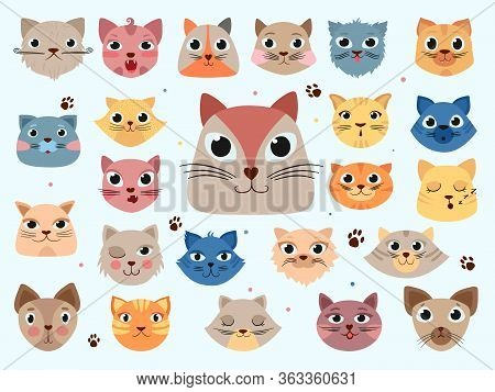 Kitty Head. Funny Animals Domestic Colored Cats Different Emotions Vector Doodle Illustrations. Kitt