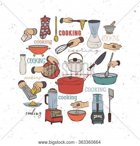 Kitchen Utensils And Appliances. Isolated Elements On White Background. Vector Illustration In Sketc