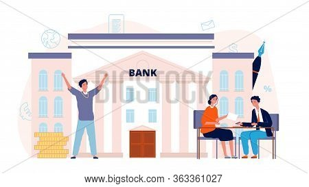Bank Agreement. Loan, Man Signing Contract With Manager. Finance Or Investment, Happy Male Businessm