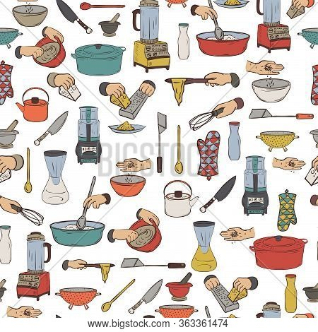Seamless Pattern With Kitchen Utensils And Appliances. Isolated Elements On White Background. Vector