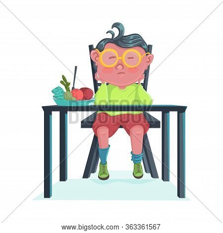 Sad Boy Do Not Want To Eat Meal. Cartoon Character Design. Child Boring And Disgust The Food. Vector