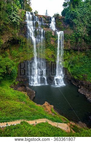 Tad Gneuang Waterfall At Paksong  Champasak  Laos,asia.tropical Waterfall In Deep Forest.