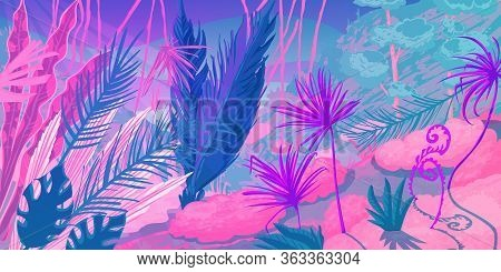 Wild Tropical Landscape At Forest With Jungle Plants. Fantasy Nature Scenery In Pink And Purple Colo
