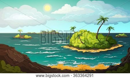 Landscape With Islands In Ocean. Tropical Beach With Mountains, Palm Trees, Yellow Sand, Turquoise O