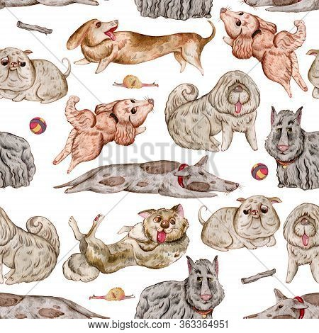 Seamless Pattern With Dogs And Design Elements Collection. Cute Funny Characters, Dog Emotion And Fe
