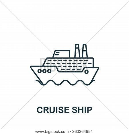 Cruise Ship Icon. Simple Line Element Cruise Ship Symbol For Templates, Web Design And Infographics