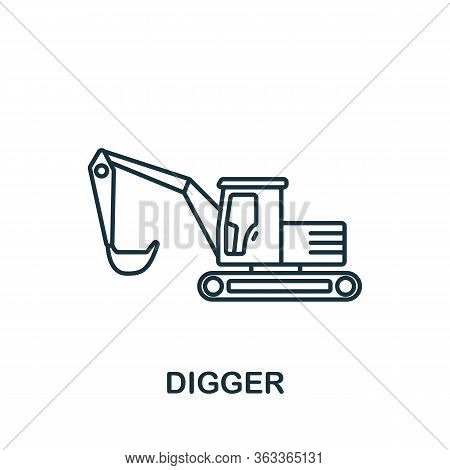 Digger Icon. Simple Line Element Digger Symbol For Templates, Web Design And Infographics