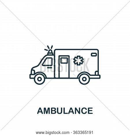 Ambulance Icon. Simple Line Element Ambulance Symbol For Templates, Web Design And Infographics