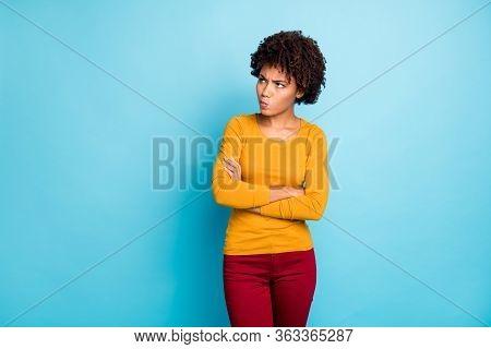 Portrait Of Frustrated Annoyed Afro American Girl Cross Hands Look Copyspace Have Misunderstanding W